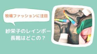 紗栄子のレインボー 長靴はどこの? 牧場ファッションも カワイイ!